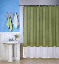1PC SILKY 2 TONES SOLID BATHROOM FABRIC SHOWER CURTAIN H10 WATER REPELLENT