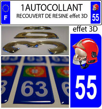 1 sticker plaque immatriculation auto DOMING 3D RESINE CASQUE F1 POMPIER DEPA 55
