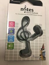 Earbuds Notes Travelocity Black Clear Sound Flat No Tangle Cord New in box
