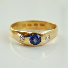 Antique Victorian 22ct Gold Sapphire & Diamond Trilogy Ring c1890; UK Size 'L'
