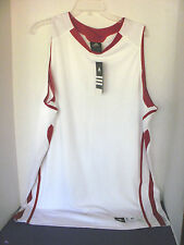 ADIDAS PRO TEAM~White & Red Trim BASKETBALL JERSEY SHIRT~Men's XL~NWT