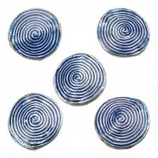 Enamelled Hypnotic Swirl Blue Round Metal Bead 26mm Pack of 5 (E86/12)
