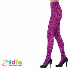 HOT PINK LEOPARD PRINT TIGHTS PANTYHOSE womens ladies fancy dress hosiery