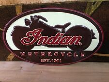 INDIAN MOTORCYCLE EMBOSSED METAL SIGN BIKE SALES SERVICE SHOP WALL DISPLAY