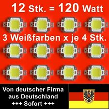 Set mit 12 LEDs je 10 Watt = 120 Watt warm/neutral/kalt, 12.000 Lumen, 12 Volt