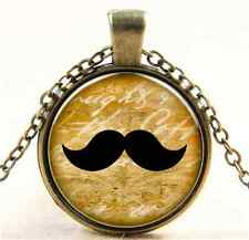 Vintage beard Cabochon Bronze Glass Chain Pendant Necklace E0123
