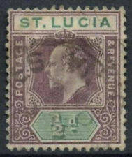 St. Lucia 1902-3 KEVII SG#58, 1/2d Dull Purple And Green Used #D1784