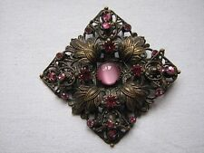 Vintage Deco Czech Brooch Pin Filagree Pink & satin Glass