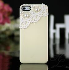 Apple iPhone 5 5s Hard Case Handy Schutz Hülle Etui Bumper Perlen 3D Creme