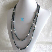 """55"""" 5-9mm Peacock Gray Freshwater Pearl Necklace Strands Jewelry"""