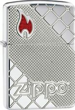 Zippo 29098, Armor, Zippo Flame, Deep Carved, HP Chrome Lighter, **Flints/Wick**