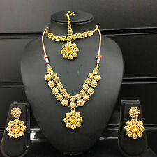 Bollywood Lct Gold Bronze Costume Jewellery Necklace Earrings Tikka set