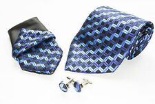 Gift Box Mens  Blue And Black Squares Silk Tie Hanky Cuflinks Matching Set A006