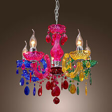 Acrylic Light Rainbow Crystal Chandelier Hanging Ceiling Fixture Pendant Lamp US
