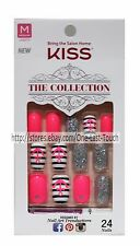 KISS 24 Glue/Press-On Nails PINK+BLUE+ANCHOR+GLITTER Collection MEDIUM Square