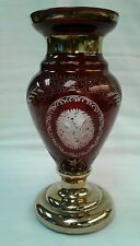 "Bohemian Czech Glass Crystal Etched Ruby Red Vase Floral Swirls Gold 8"" Tall"