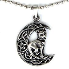 Magic Cat Celtic Crescent Moon Pentacle Wicca Pagan Pewter Pendant W Ball chain