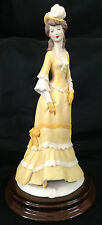 Vintage Victorian Lady in Yellow Porcelain Figure Vittorio Tessaro Signed Italy