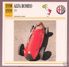 1938-1951 Alfa Romeo 158/159 Race Car Photo Spec Sheet Info Stat French Card