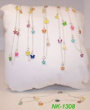 NK-1308 -Little Girl's Enameled Butterflies & Flowers Charm Necklace