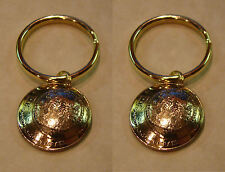 2 Widow's Mite KEY RINGS of Modern Israel Israeli 5 agorot coin Jewelry DOMED
