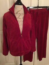 JANE ASHLEY Womens Velour Jogging Jacket ➕ Lounge Pants Large Red NWOT