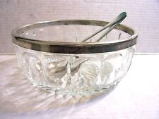 Salad set 3 PC Glass Bowl & Silverplated Rim and Servers Made in Italy
