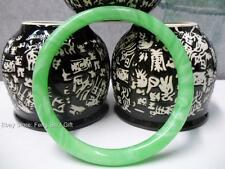 Chinese Oriental Natural Green Jade Round Bangle Bracelet Feng Shui Jewelry #eBw