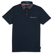Men's Authentic Ted Baker SYDNAR Floral Collar Navy Polo Shirt Size 5 - XL