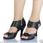 Ladies Black Leather Tango Rumba Ballroom Latin Salsa Dance Shoes Heels US5-9
