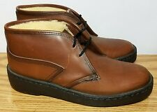 Vintage Bates Floaters Wool Lined Old Fashioned Brown Leather Crepe Boots Sz 10