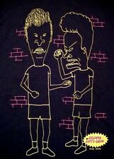 Beavis & Butt-Head Funny MTV TV Show Comics Books Black Line Art T Shirt L
