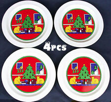 4 HOUZE Vintage 1985 CHRISTMAS TREE~KITTENS Holiday DESSERT~SANDWICH PLATES~NEW