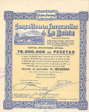 Compania de los Ferrocarriles de La Robla SA, accion, Bilbao, 1959