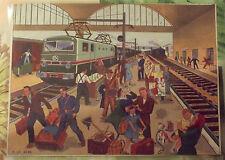 Carte Expo Affiche Scolaire  30x21cm Gare de Voyageur Locomotive 1950