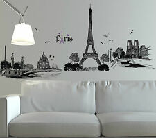 Paris City Skyline Landscape Notre Dame Eiffel Tower Wall Art Sticker Home Decal