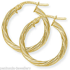 9ct Gold Hoop 20mm Twisted Hoop Creole earrings Gift Boxed