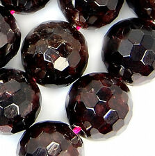 """10mm Faceted Natural Red Garnet Round Beads 15.5"""""""