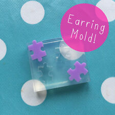 EARRING MOLD - Jigsaw Shape Resin Craft Silicone Rubber Stud Earrings