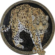 Leoprad Greek Border Mural Wall Hanging Home Art Marble Mosaic AN358