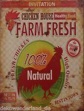 Blechschild Dekoschild Schild Farm Fresh Chicken House Huhn Hahn Shabby 33x25 cm