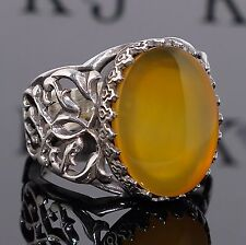 Silver Ring Yellow Agate Aqeeq Akik Sterling 925 Mens Jewelry unique handcrafted