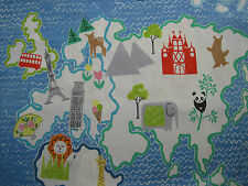 "DESIGNERS GUILD CURTAIN FABRIC DESIGN ""Around the World"" 2.4 METRES COBALT"