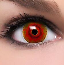 """Coloured Contact Lenses Brown """"Red Monster"""" Contacts Halloween  +  Free Case"""