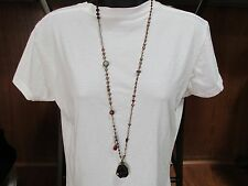 NEW Chico's Libya Goldtone Long Bead Chain Necklace w/ Glass Nugget Pendant $44.