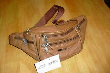 Mens Tan Cowhide Leather Waist/Bum Bag bY  Lorenz New And Tagged
