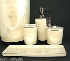 NEW 5PC SET BEIGE PORCELAIN SOAP DISPENSER+TRAY+TOOTHBRUSH+JAR,LID+TRASH CAN