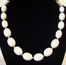 Monet White Oval Beads Necklace Choker Gold Plated Spacers Vintage Estate Signed