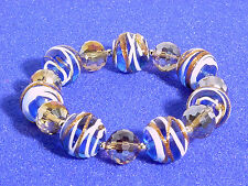 MURANO GLASS BEADED BRACELET #BLUE, WHITE, COPPER #137-A/9