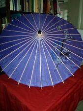 Oriental Hand Painted Purple Nylon and Bamboo Wood Umbrella Parasol